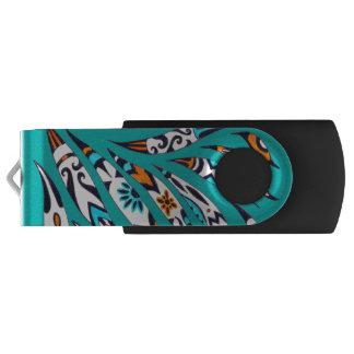 Inky Funky Pattern Art Teal USB Flash Drive