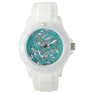 Inky Funky Pattern Art Teal Watch