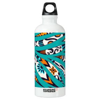 Inky Funky Pattern Art Teal Water Bottle