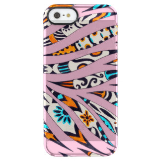 Inky Funky Pattern Scribble Pink Clear iPhone SE/5/5s Case