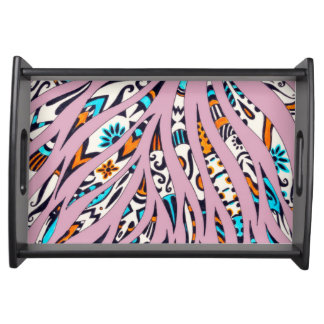 Inky Funky Pattern Scribble Pink Serving Tray
