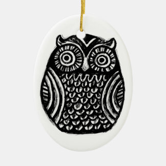 inky owl ornament.. halloween christmas custom ceramic ornament