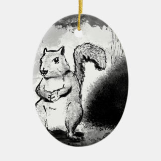 Inky Squirrel Ceramic Ornament