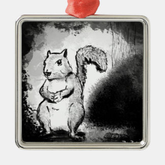 Inky Squirrel Metal Ornament