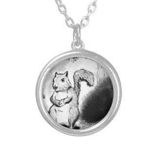 Inky Squirrel Silver Plated Necklace
