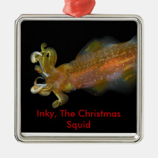Inky, The Christmas Squid Metal Ornament