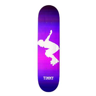 Inline Skater; Vibrant Violet Blue and Magenta Skateboards