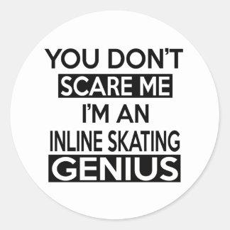 INLINE SKATING GENIUS DESIGNS ROUND STICKER