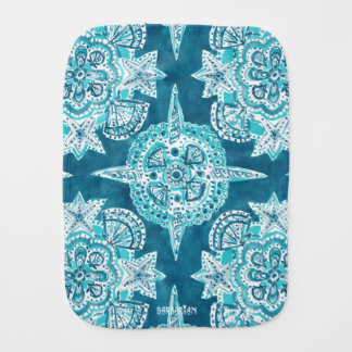 INNER MERMAID COMPASS Aqua Beach Shell Mandala Burp Cloth