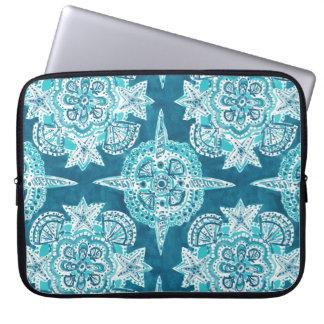 INNER MERMAID COMPASS Aqua Beach Shell Mandala Laptop Sleeve