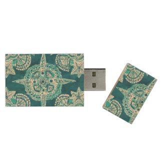 INNER MERMAID COMPASS Aqua Beach Shell Mandala Wood USB 2.0 Flash Drive