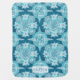 INNER MERMAID COMPASS Aqua Beach Shell Moroccan Baby Blanket