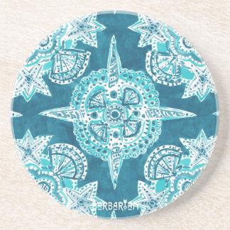 INNER MERMAID COMPASS Aqua Beach Shell Moroccan Coaster