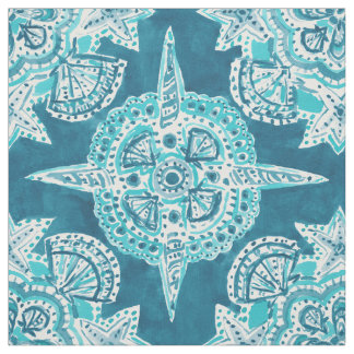 INNER MERMAID COMPASS Aqua Beach Shell Moroccan Fabric