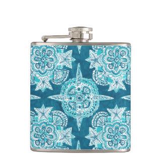 INNER MERMAID COMPASS Aqua Beach Shell Moroccan Hip Flask