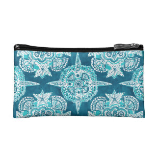 INNER MERMAID COMPASS Aqua Beach Shell Moroccan Makeup Bag