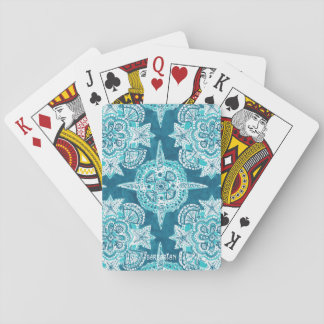 INNER MERMAID COMPASS Aqua Beach Shell Moroccan Poker Deck
