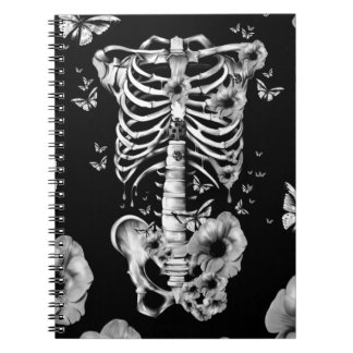 Inner peace, rib cage with poppies spiral notebook