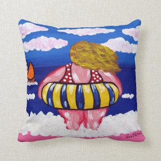 Inner Tube Beach Diva Colorful Whimsical Folk Art Throw Pillow