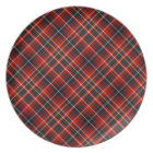 Innes Clan Colourful Red Scottish Tartan Plate