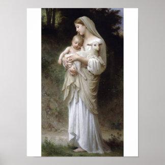 Innocense Bouguereau Lamb baby Poster