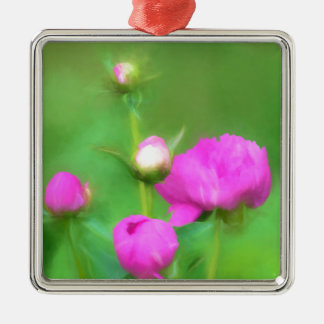 Innocent Pink Buds Silver-Colored Square Ornament