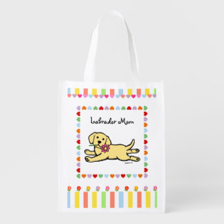 Innocent Yellow Labrador Puppy Cartoon Grocery Bag