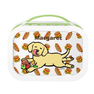 Innocent Yellow Labrador Puppy Cartoon Lunch Box