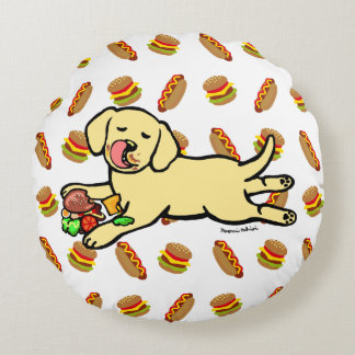 Innocent Yellow Labrador Puppy Cartoon Round Pillow
