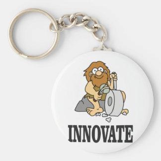 innovation caveman basic round button keychain