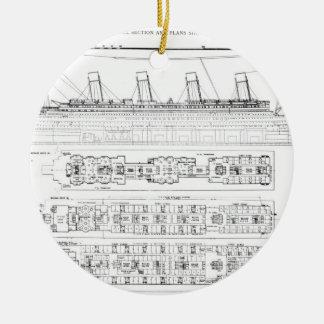 Inquiry into the Loss of the Titanic: Cross sectio Round Ceramic Ornament
