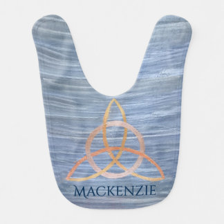 Inquisitive Baby | Name Gold Blue Celtic Triquetra Bib