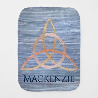 Inquisitive Baby | Name Gold Blue Celtic Triquetra Burp Cloth