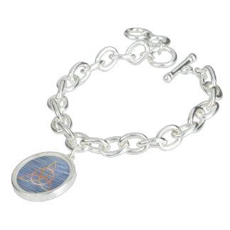 Inquisitive Blue Metallic Gold Triquetra Celtic Charm Bracelet