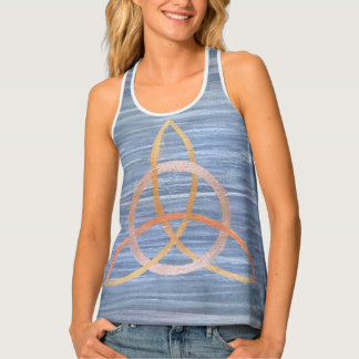 Inquisitive Blue Metallic Gold Triquetra Celtic Tank Top