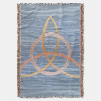 Inquisitive Blue Metallic Gold Triquetra Celtic Throw Blanket