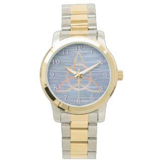 Inquisitive Blue Metallic Gold Triquetra Celtic Wristwatch