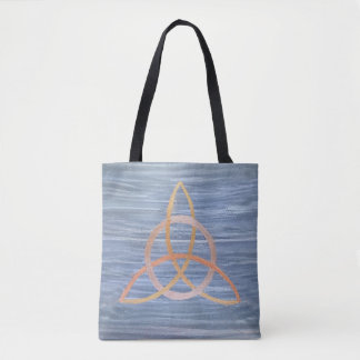 Inquisitive Triquetra Metallic Gold Blue Trinity Tote Bag