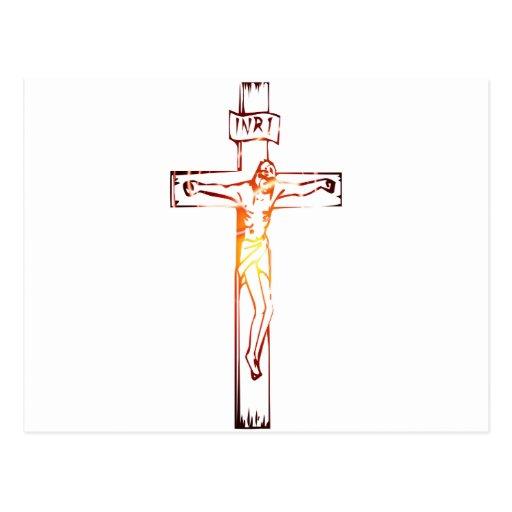 INRI Christ sur croix lumière Postcards