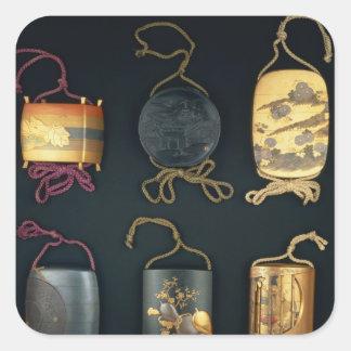 Inro Cases, 19th century Square Sticker