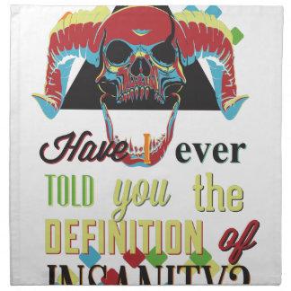 insanity and scary skull napkin