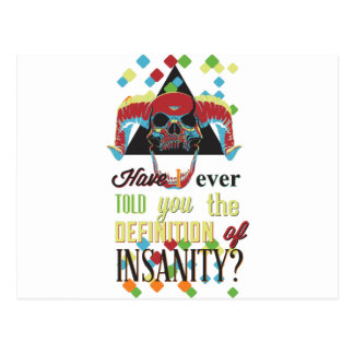 insanity and scary skull postcard