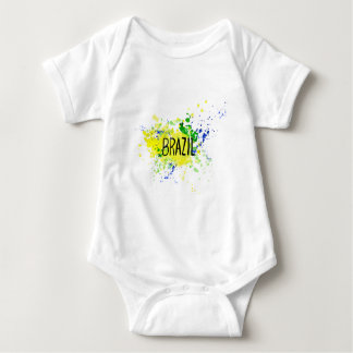 Inscription Brazil on background watercolor stains Baby Bodysuit