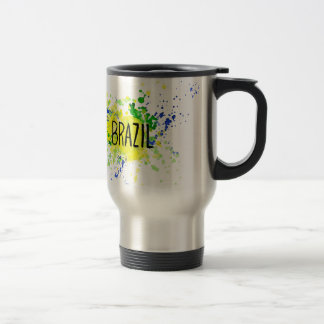 Inscription Brazil on background watercolor stains Travel Mug