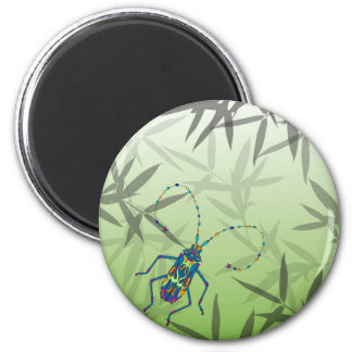 Insect Bamboo leaves Green Unique Pattern 2 Inch Round Magnet