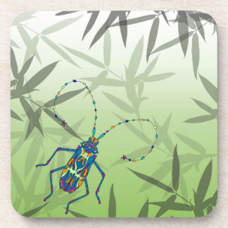 Insect Bamboo leaves Green Unique Pattern Coaster
