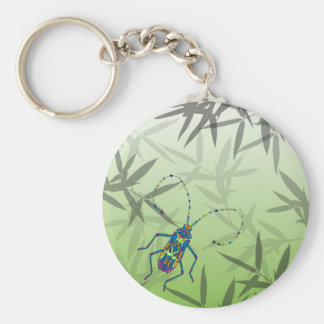 Insect Bamboo leaves Green Unique Pattern Keychain