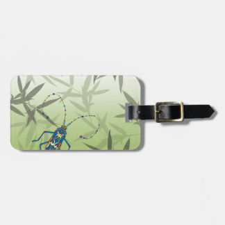 Insect Bamboo leaves Green Unique Pattern Luggage Tag