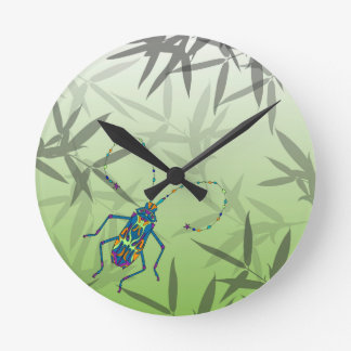 Insect Bamboo leaves Green Unique Pattern Round Clock