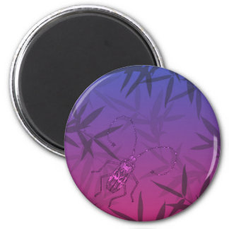 Insect Bamboo leaves Pink and Blue Unique Pattern 2 Inch Round Magnet